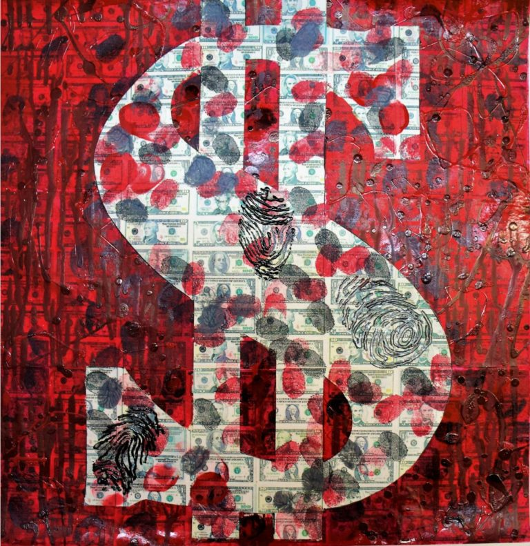 Blood Money Thumb 16' x 16' Collage,Acrylic and Oil Paint
