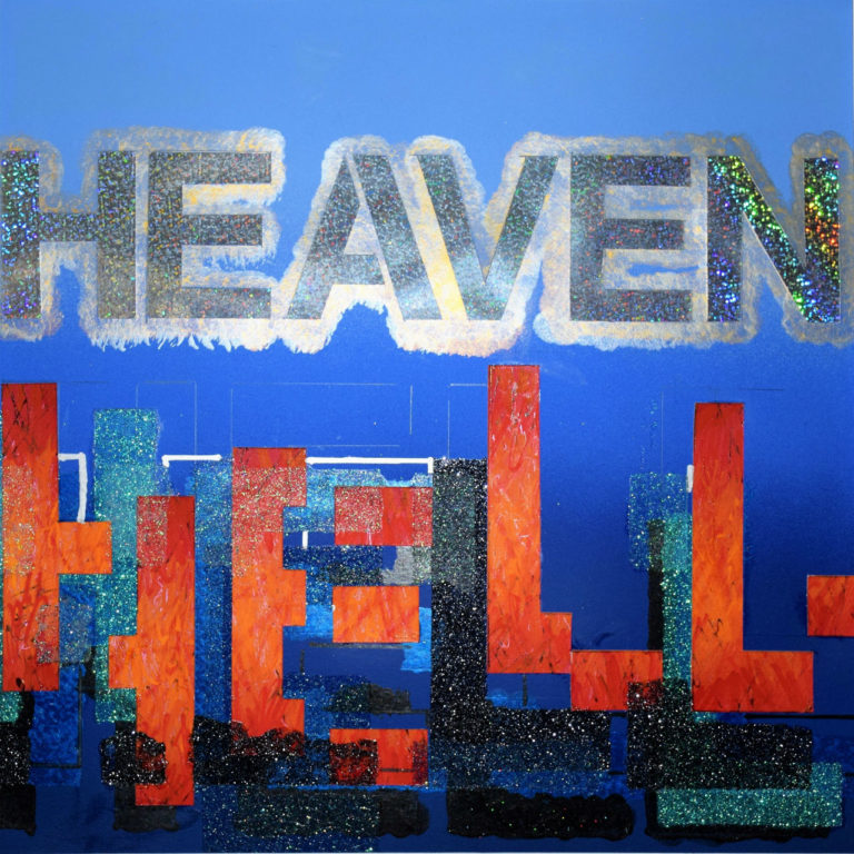Heaven & Hell V 1 16' x 16' Collage Glitter,Acrylic and Oil Paint