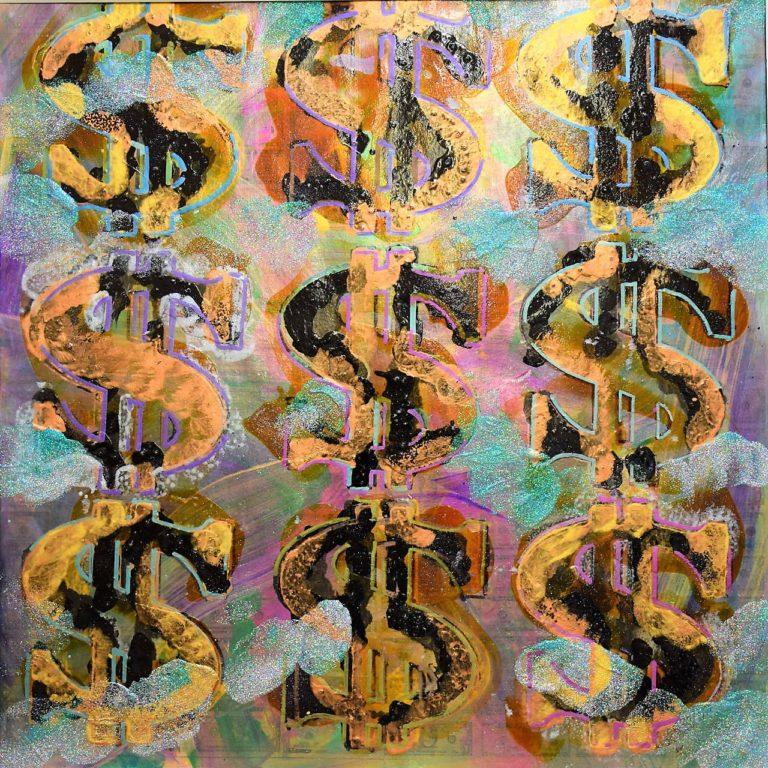 Black Gold Dollar V1, 16' x 16' Oil Paint,Glitter and Metallic Paint